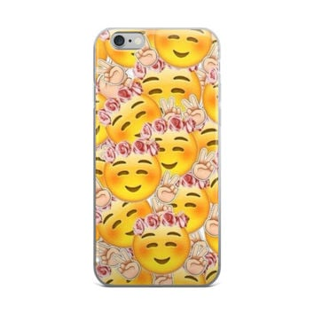 Flower Crown Blushing Smiley Face Emoji Collage Teen Cute Girly Girls Yellow & Pink iPhone 4 4s 5 5s 5C 6 6s 6 Plus 6s Plus 7 & 7 Plus Case