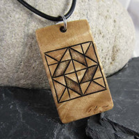 Quilt Block Necklace, Traditional Quilt Pattern Necklace, Wood Pendant, Rustic Jewelry
