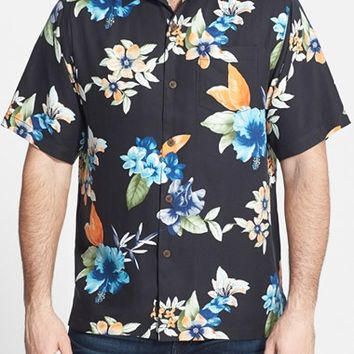 Men's Tommy Bahama 'Airbrush Tropical' Original Fit Silk Camp Shirt