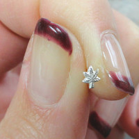 Silver Pot Leaf Nose Stud Ring 925 Nose Piercing Marijuana Leaf