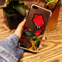 Fashion mirror face rose  silica gel  phone case iPhone shell