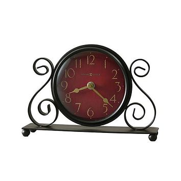 Howard Miller Marisa Desk Clock - Bent-Iron Scroll with Antique-Red Dial