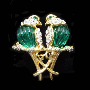 Rhinestone Love Birds Pin, Green Breasted Doves, Clear Rhinestones, Two Birds on a Branch, Modern Vintage 1980s 1990s Audubon Brooch