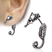316L Surgical Steel Seahorse Fake Taper (Left Side)
