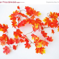 SPRING SALE GARLAND Orange Maple Leaves 8ft 623⁄64in Garlands Yellow Wedding Autumn Fall Decorations Halloween Decor Home Holiday Table Deco