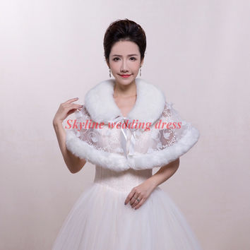 Winter Wedding cape red white fur coat wedding accessories Shawl Jacket faux fur shrug Bridal Bolero rose pattern
