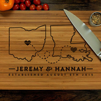 Personalized Cutting Board, Custom Wedding Gift, Where It All Began, Two States, Hearts, Ohio, Louisiana, Engagement Gift, Housewarming Gift