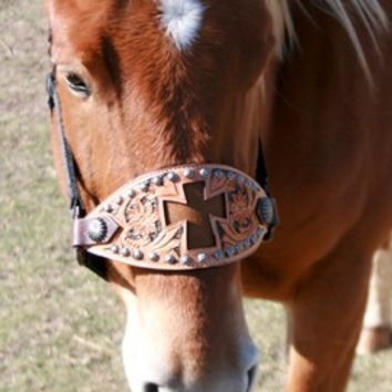 Teskey's Saddle Shop: Teskey's Inlay Cross Bronc Halter with Painted Background