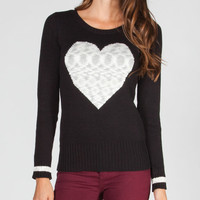 Say What? Heart Womens Sweater Black/White  In Sizes