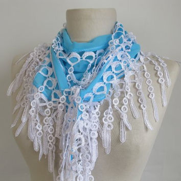 Christmas gift -chiffon scarves- white scarf -lace scarves -scarfs or scarves - fringed scarves -aqua blue scarves
