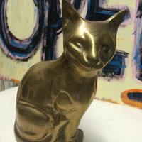 Vintage Brass Cat Statue Vintage Brass KITTY Cat Figurine Stylized Animal Mid Century