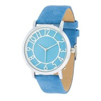 Silver Watch With Blue Leather Strap