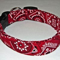 Charming Red Black Bandana Dog Collar Collars Small