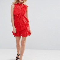 ASOS PETITE Lace Ruffle Mini Ra Ra Dress at asos.com