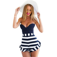 2015 New Fashion Summer Ruffles Striped Short Women Strapless Halter Playsuit  Ladies Overalls Jumpsuits & Rompers Free shipping