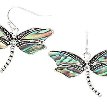 Silver Tone Blue Green Abalone Shell Dragonflies Earrings with Rhinestone Accent