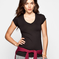 Active V-Neck Womens Tee Black  In Sizes