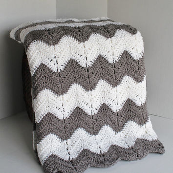 Afghan -Crochet Chevron Blanket-White and Grey