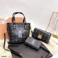 MCM 2018 new women's fashion bucket bag wild shoulder bag diagonal female bag three-piece Black