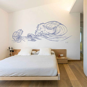 wave Wall Decals Ocean Wave Wall Decals Ocean beach Waves Wall Stickers Ocean Wall Decals sea Wall Decal Stickers for Bedrooms kik3416
