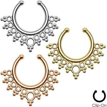 Gold Rose Fake Nose Ring Clip on Boby Nose Fake Piercing Rings Stud Punk Goth False Hoop Earrings Septum Limited Edition Nose