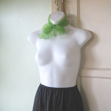 Lime Green Vintage Chiffon Scarf - Sheer Green Neck Bow/Tie - Grass Green Head Wrap - Holloway/Mad Men/Midcentury Scarf