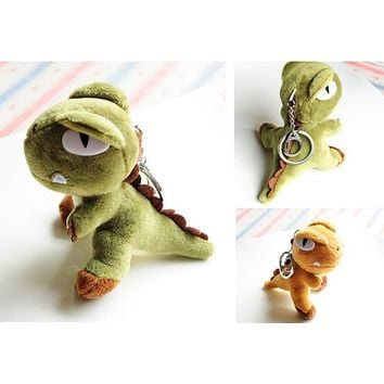 Super HOT , Quality Toy - 6 COLORS - 10CM Height Dinosaur Key chain ring Plush Stuffed TOY DOLL , dragon animal Plush Toys