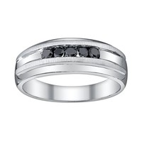Platina 4 Black Diamond Accent Wedding Band - Men