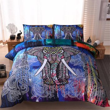 3pcs Exotic Madala Pattern Bedding Set Boho Elephant Duvet Cover Set with 2 Pillow Shams Bohemia Bedclothes Bed Linen Queen King