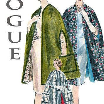 1960s Vintage Vogue 5176 Reversible, Collarless Cape with Arm Openings & Patch Pockets - Mad Men Mod - Size Small/Bust 31, 32 Sewing Pattern