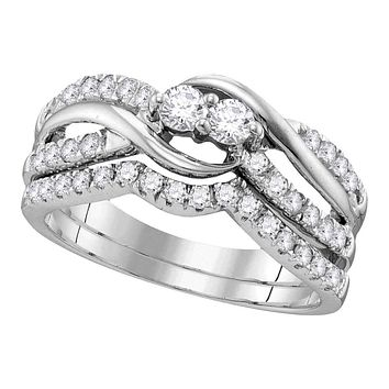 14kt White Gold Women's Round Diamond 2-stone Bridal Wedding Engagement Ring Band Set 3/4 Cttw - FREE Shipping (US/CAN)