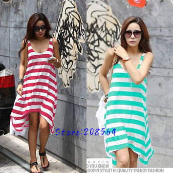 Women Casual Vacation Beach Dress Sleeveless Striped Irregular Sundress 0088