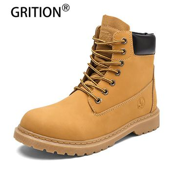 GRITION Hot Selling Men Boots Warm Retro Waterproof Men Snow Boots Winter Shoes Plus Size 36-44 Rubber Yellow Brown Black Martin