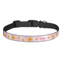 Pink Plumeria Flowers With Dog's Name Pet Collar