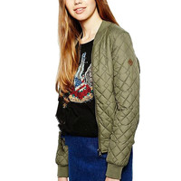 Army Green Quilted Bomber Jacket with Ribbed Collar
