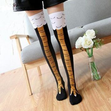 Creative socks with chicken print toe Women's Thigh High Sale Chicken Toe Feet