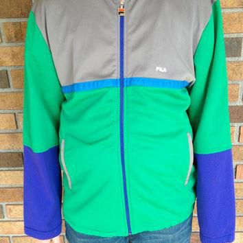 Vintage Fila Sports Jacket Zip Up Size 10 Men's or Women's Green, Grey, Blue, and Pur