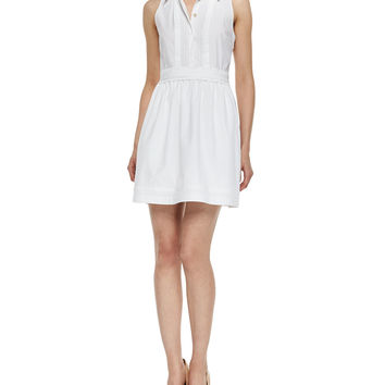 Lara Tuxedo Collar Dress, White, Size: