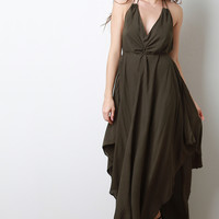 Halter Deep V Handkerchief Maxi Dress