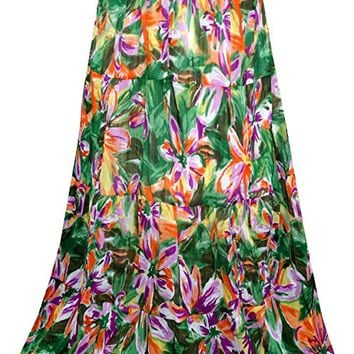 Felicity Womens Long Skirt Green Pretty Floral Printed Gypsy Boho Beach Fashion Peasant Skirts S/M