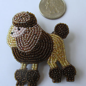 Vintage Beaded Poodle Pin Brooch.  Unique gift for dog lover. Shades of brown. Under 20. New old stock