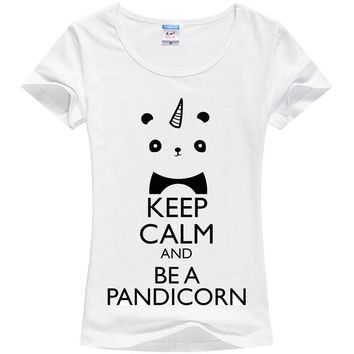 One-horned panda printing T-shirt girl unicorn cute T-shirt KEEP CALM AND BE A PANDICORN Factory direct sale can be customized