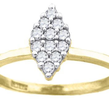Marquise Shaped Round Cut CZ Promise or Fashion Ring in 10k Yellow Gold