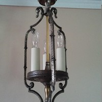 Antique Colonial Hanging Entry Light Hammered Nickel 3 Candle Socket Covers 1920s