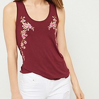 Black Floral Embroidered Sides Tank