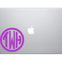 6 INCH CIRLCE MONOGRAM decal Great for MacBooks by OwlOutfitters
