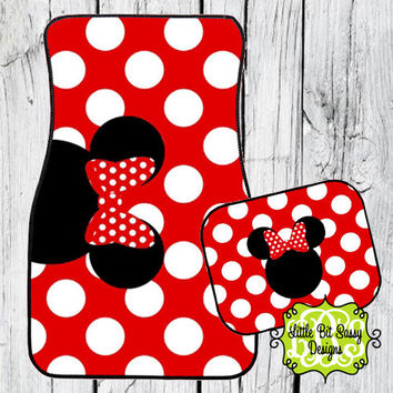 Car Mats Minnie Mouse Personalized Monogrammed Floor Car Mat Initial Red White Polka Dots