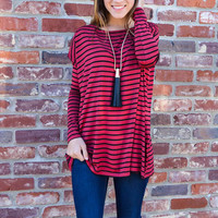 PIKO: Everyday Long Sleeve Top - Wine/Black Stripe