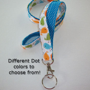 Lanyard  ID Badge Holder - Lobster clasp and key ring - design your own - Urban birds with blue pin dots -  two toned double sided