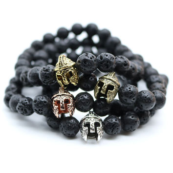 Antique Gold Plated Roman Warrior Gladiator Helmet Bracelet Men Black Lava Rock Stone Bead Bracelets For Men Pulseras